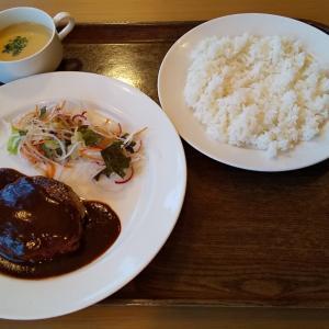 レストランローリエのデミグラスハンバーグ+黒糖プリン。