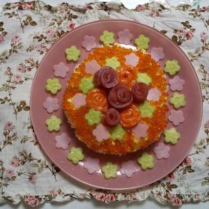 薔薇の寿司ケーキ。