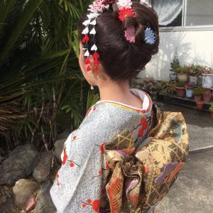 ご成人式のお嬢様♡ 大輪の剣菊 大輪の剣菊小さ目、小花のUピン。