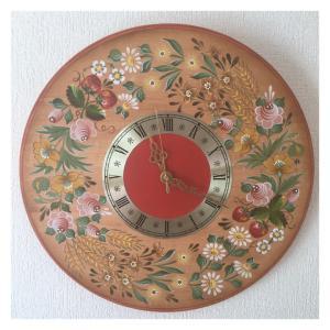 野の花のガーランドの時計・・・♪