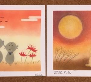週末パステル☆秋色を楽しむ・・月夜の風景