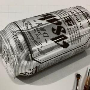鉛筆で描かれたスーパードライが超リアル 絵と分かっていても喉が鳴る