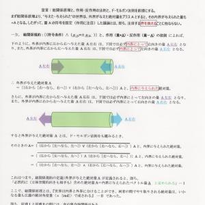 総関係規約の集合論関係 :(総関係規約)⊃{(総関係原理)∧(作用・反作用)∧(ド・モルガン)}