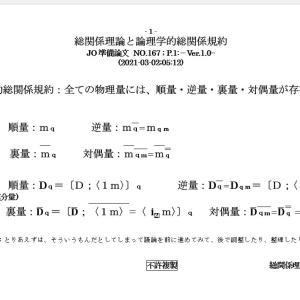 総関係理論と論理学的総関係規約JO準備論NO.167