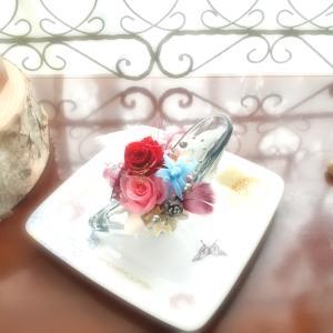 ガラスの靴やキャンバスの花束アレンジ【プリザーブドレッスン】