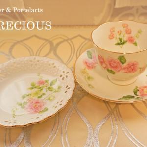 ◆ローズ柄のカップ&ソーサーと透かしプレート お気に入りの作品に♪