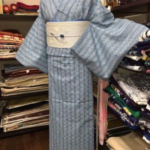 しじら織着物に、鮎の夏帯で。