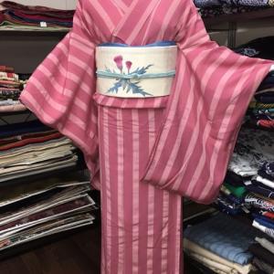 ピンク縞夏着物に、アザミ柄の名古屋帯