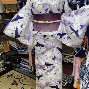 紫の鶴柄リサイクルプレタ浴衣