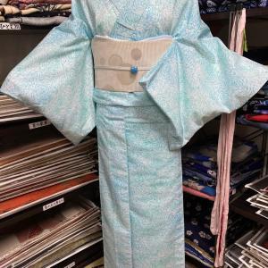 水流にメダカ模様のサマーウール着物コーデ