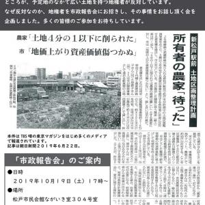 【市政報告のご案内】減歩率77%超の新松戸駅前区画整理問題を皆で考える市政報告会