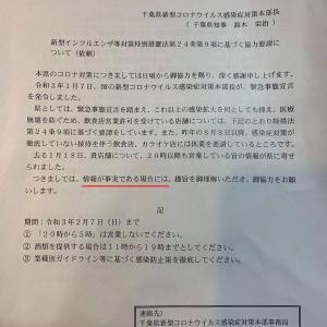 千葉県が事実確認せずに「20時以降の休業要請に関する依頼文」を飲食店に送付することは問題がある