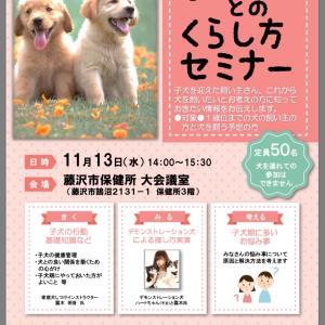 「子犬とのくらし方セミナー」 開催のお知らせ