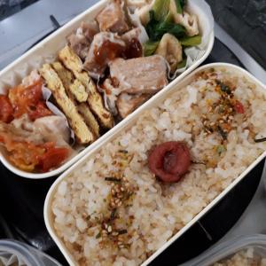 弁当 (一口豚ロース、小松菜油揚炒など