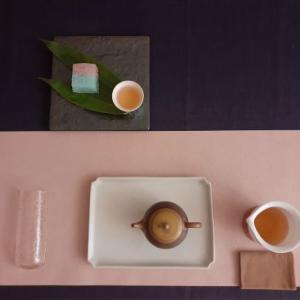 普洱生茶と錦玉羹