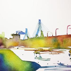 港の秋色シルエット