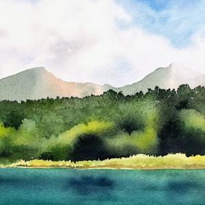 ルリ沼から磐梯山を望む