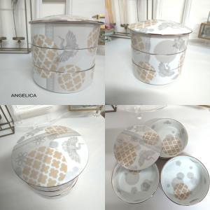 シックな色合いのお重と扇皿のセット