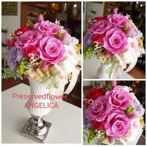 贈り物にピンクのプリザーブドフラワー