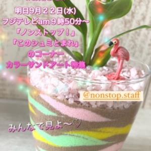 【お知らせ】9月22日フジテレビ「ノンストップ!」でカラーサンドアートの特集