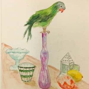 水彩教室 「鳥のいる静物」