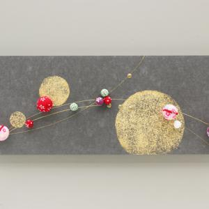 ちりめん玉飾りと鶴亀の結納品リメイクアートパネル