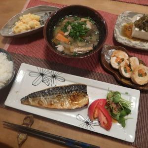 """塩鯖と豚汁で""""和食""""の晩ご飯 と 十三夜♪"""