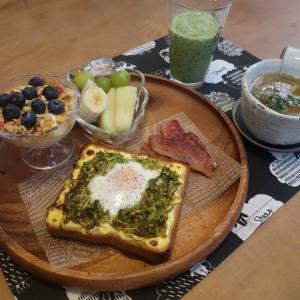 カレーキャベツの巣ごもりトーストの朝食 と 祝一周年!の『備長炭居酒屋』で退職祝♪