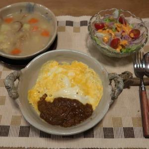 """オムドライカレー&クラムチャウダーの晩ご飯 と インフルA型""""備忘録""""♪"""