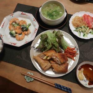 春巻と海老ブロッコリーマヨの晩ご飯 と もうひとつのミモザ♪