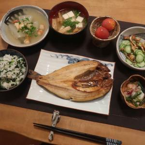 ホッケと冬瓜の海老あんかけの晩ご飯 と 2種のキュウリサンド♪