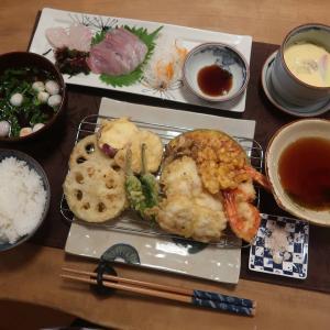 『和定食』~鱧の天ぷら・お刺身・茶わん蒸しと ゴルフラウンド♪