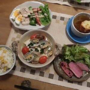 アクアパッツァやコブサラダの晩ご飯とノリウツギ:ライムライト~わたしの一番好きな花♪