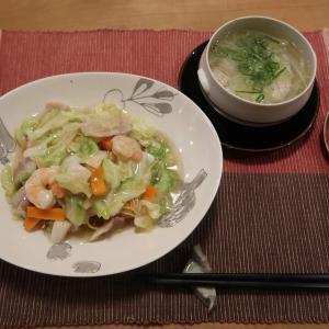 長崎皿うどんと ツナキュウリマヨチーズトーストと ブルーベリーと家庭菜園の収穫♪