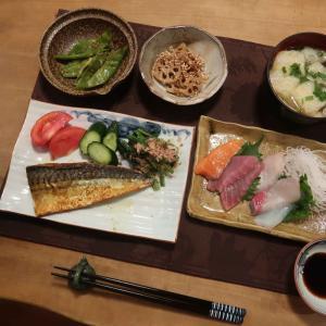 鯖のカレー風味焼きの晩ご飯と ルリマツリの花と 水無月♪