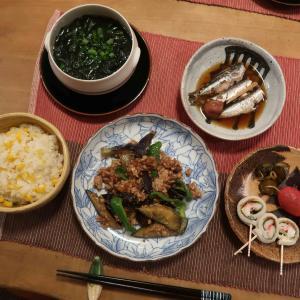 茄子とひき肉の味噌炒めと鰯の梅煮の晩ご飯と 発見!アシナガバチの巣♪
