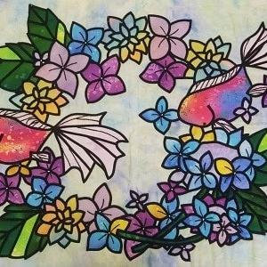紫陽花と金魚のステンドグラス