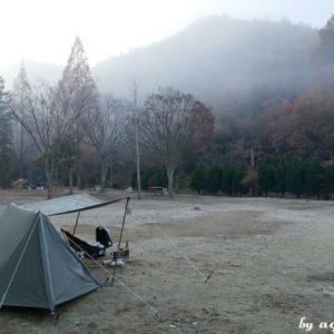 最後はいつもの古法華公園キャンプ場 … 初パップテント(2日目)