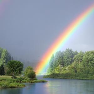 後には虹がかかる