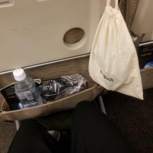 機内で役立つ巾着/からの空港スタッフ全員マスク着用でした