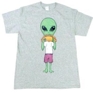 宇宙人 エイリアン メキシカン フード タコス イラスト デザイン シャツ