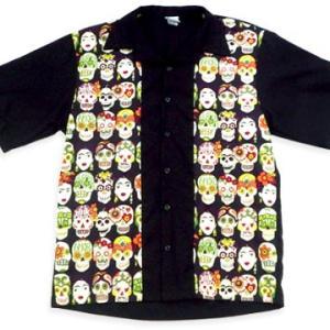 メキシカン スカル フリーダ 骸骨 カラベラ ボーリング デザイン ボタン シャツ