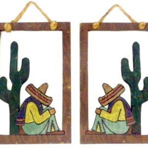 メキシカン シエスタ サボテン お昼寝中 メキシコ ウッド フレーム 壁掛け インテリア