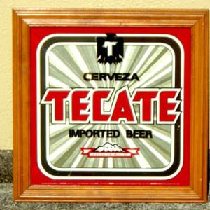 メキシコ ビール テカテ ウッドフレーム デザイン ビンテージ メキシカン サイン パブミラー
