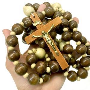 ビッグサイズ メキシコ ウッド ロザリオ 十字架 アクセサリー ブラウン