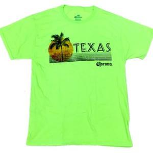 メキシカン ビール コロナ テキサス パームツリー ライムグリーン Tシャツ