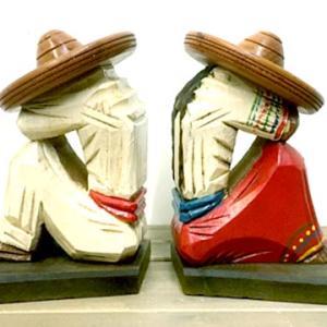 メキシカン シエスタ サボテン お昼寝中 メキシコ ウッド ビンテージ ブックエンド 本立て