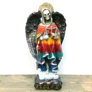 メキシコ 死の天使 サンタムエルテ 魔除け 置物 (21cm) レインボー