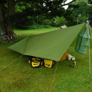 紋別コムケ国際キャンプ場に到着 霧雨もなく風も穏やか