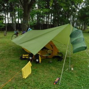 士別市つくも水郷公園キャンプ場に到着 思ったほど濡れなかった